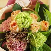 母の日,キャラメルアンティーク,ショートブーケスタイル花束